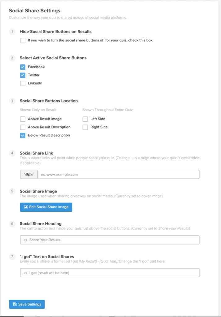 TryInteract quiz maker social sharing options