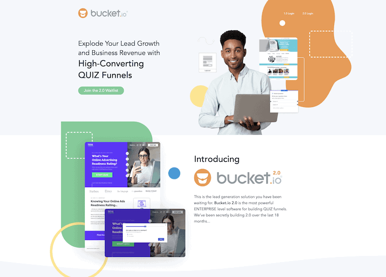 Bucket.io home page quiz maker review