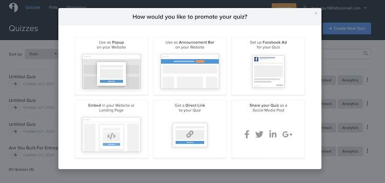 tryinteract quiz publishing options