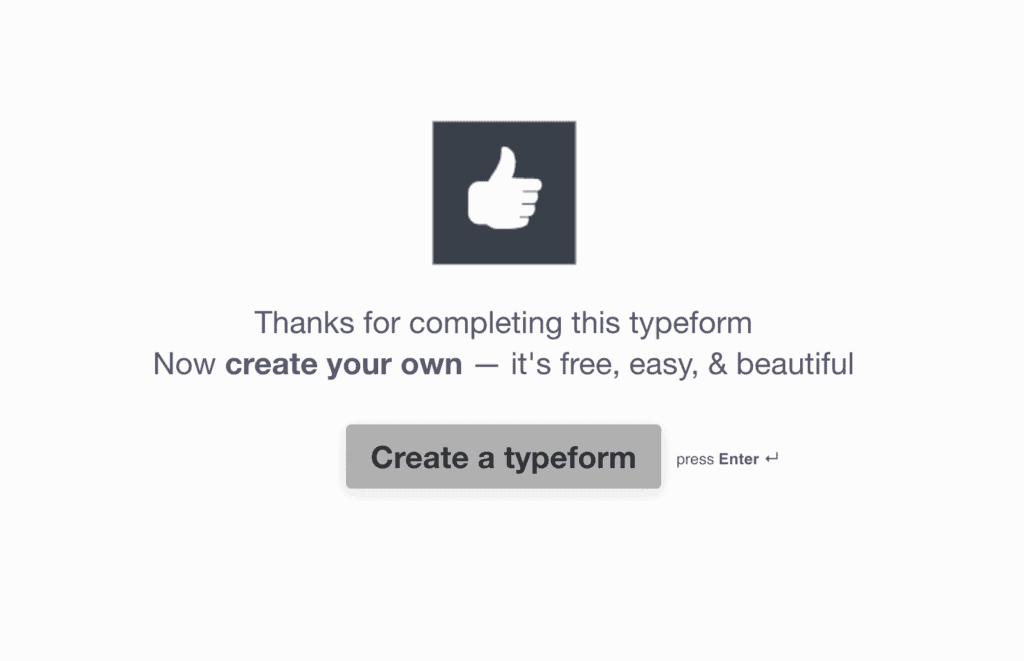 Typeform poll thank you page