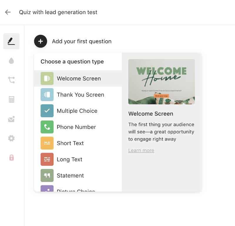 Typeform quiz maker question types
