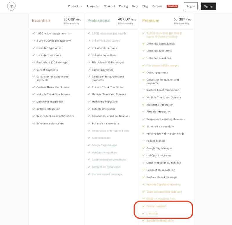 Typeform pricing quiz maker