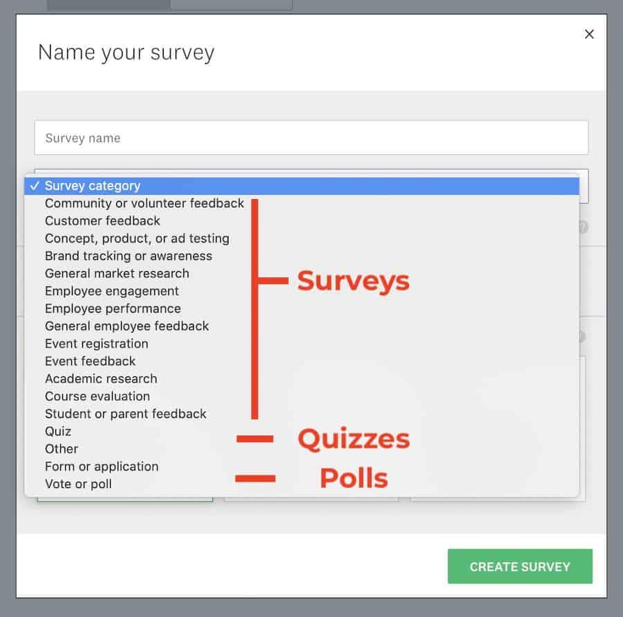 survey monkey quiz types