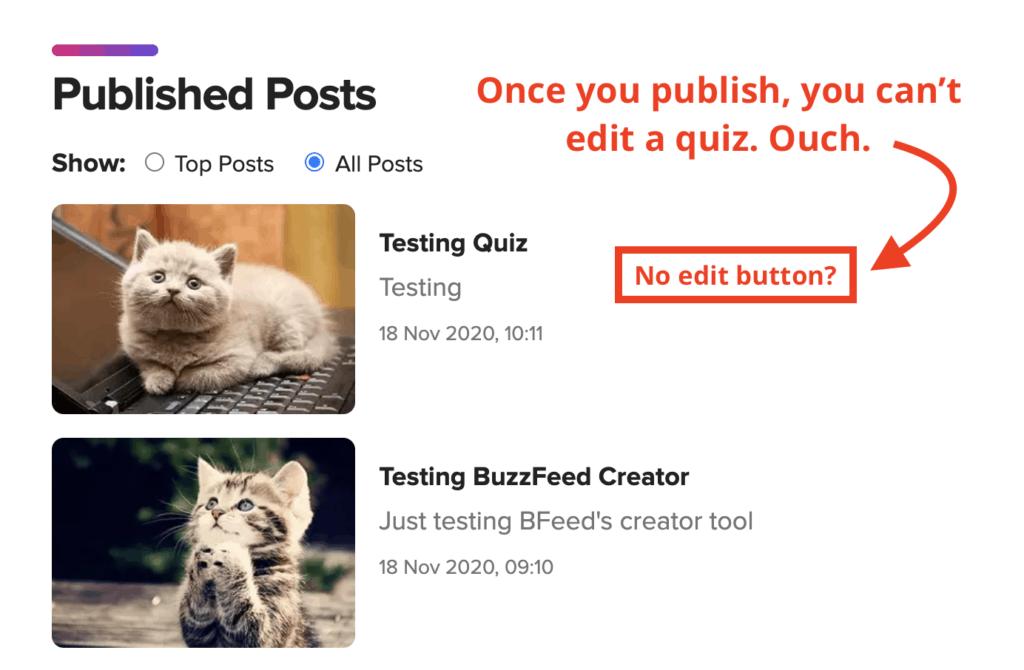 Buzzfeed quiz maker - no edit button