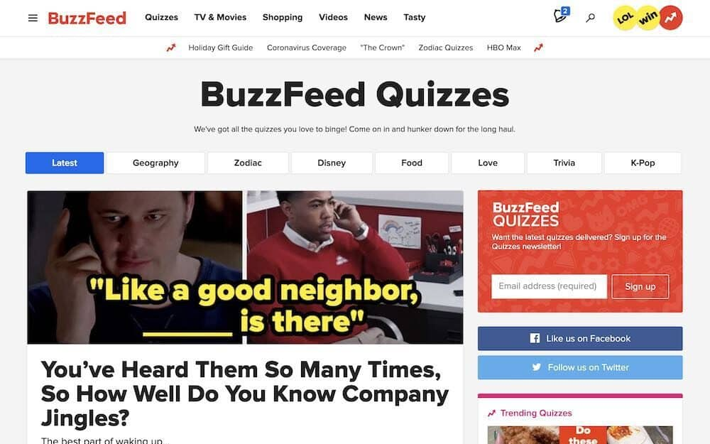 Buzzfeed quiz maker home page