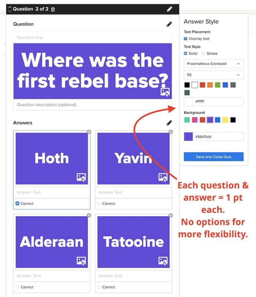 Buzzfeed quiz options