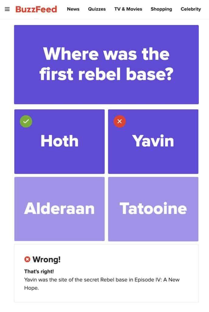 Buzzfeed quiz preview