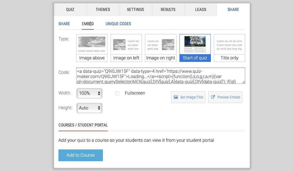 Quiz-Maker publish options