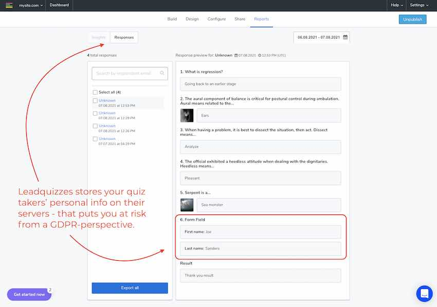 Leadquizzes gdpr - storing personal data on their servers